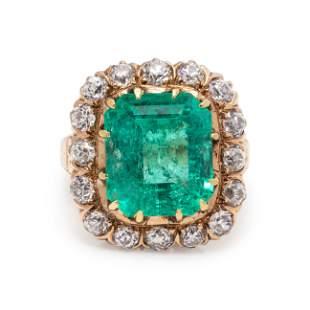 ANTIQUE, EMERALD AND DIAMOND RING