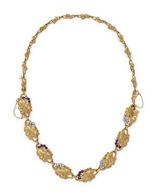 FRENCH, ART NOUVEAU, YELLOW GOLD, RUBY AND PEARL