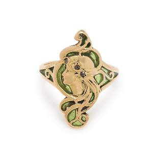 FRENCH, ART NOUVEAU, PLIQUE-A-JOUR ENAMEL AND DIAMOND