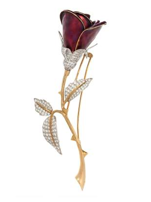 EVELYN CLOTHIER, ENAMEL AND DIAMOND ROSE BROOCH