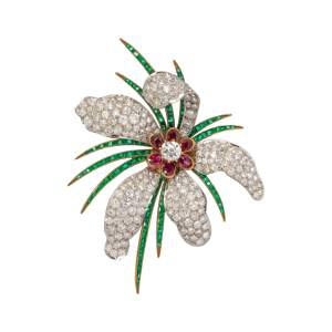 EVELYN CLOTHIER, DIAMOND, RUBY AND EMERALD FLOWER