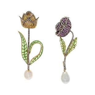 EVELYN CLOTHIER, COLLECTION OF MULTIGEM FLOWER BROOCHES