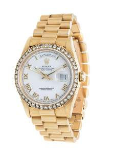 ROLEX, 18K YELLOW GOLD AND DIAMOND REF. 18238 'OYSTER