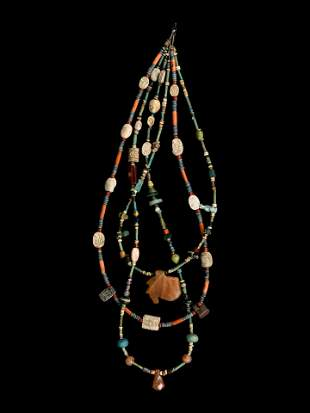 An Egyptian Stone and Faience Necklace Length 14
