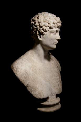 A Roman Marble Portrait Bust of a Man Height 27 1/2 x