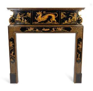 An Edwardian Black and Gilt Chinoiserie Decorated