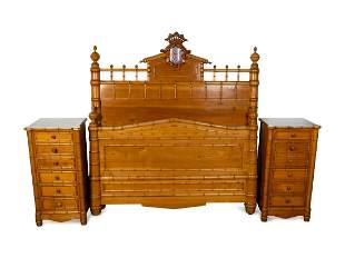 A British Colonial Style Faux Bamboo Suite of Bedroom