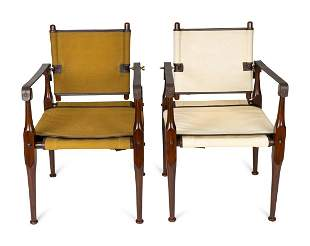 A Pair of British Colonial Style Mahogany, Canvas and