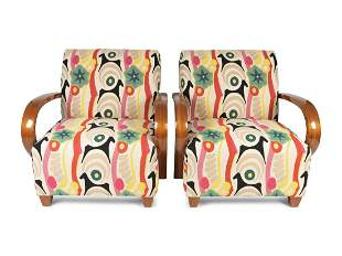 A Pair of Bentwood Lounge Chairs in Clarence House