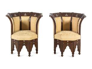 A Pair of Syrian Mother-of-Pearl Inlaid Walnut Chairs