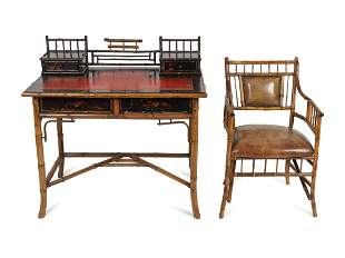 A Victorian Aesthetic Bamboo Desk and Chair Height of