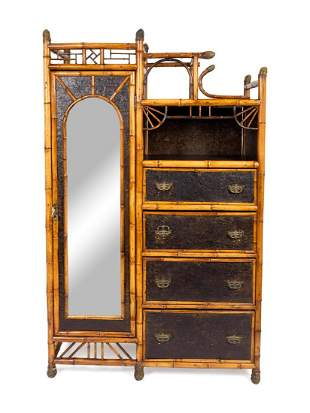 A Victorian Aesthetic Bamboo Cabinet Height 76 x width