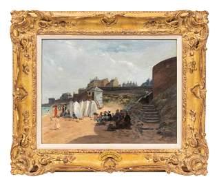 Edmond-Louis Dupain (French, 1847-1933) La Plage a