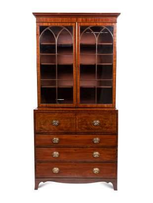A George III Mahogany Secretary Bookcase Height 93 3/4