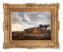 Dutch School Landscape with Cows and Shepherd 20 ½ x 28