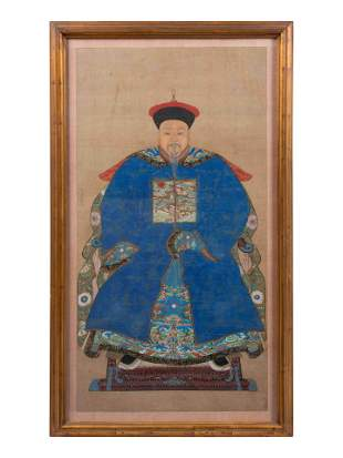 A Chinese Ancestral Portrait on Silk 38 1/2 x 20