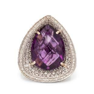 AMETHYST, DIAMOND AND BLACK DIAMOND RING