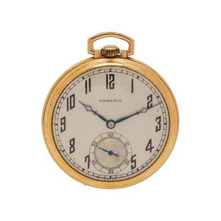 HAMILTON, 14K YELLOW GOLD OPEN FACE POCKET WATCH
