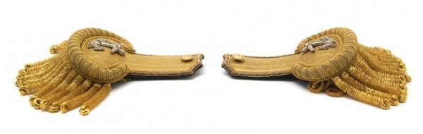 3: A Pair of Cased Naval Epaulets, Width of case 9 1/4
