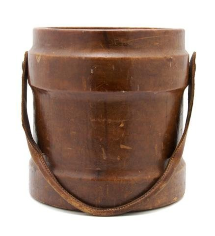 7: A Late Georgian Leather Peat Bucket, Height 14 1/4 i