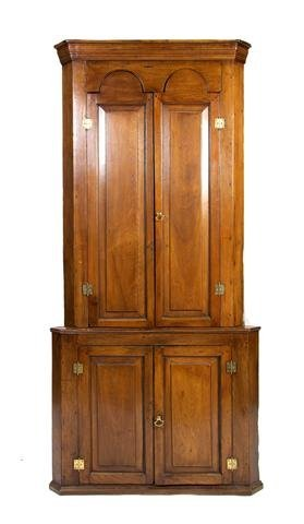 12: A Queen Anne Style Walnut Corner Cupboard, Height 3