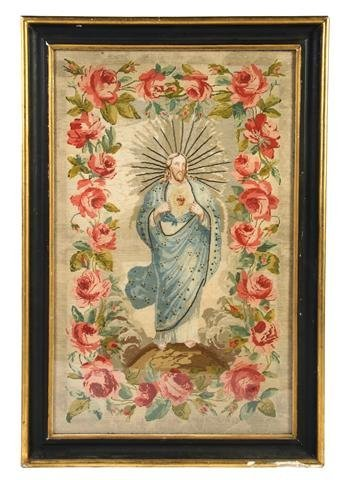 18: A Victorian Needlepoint Tapestry, Height 44 1/2 x w