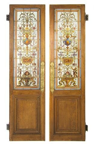 20: A Pair of English Walnut and Stained Glass Doors, H