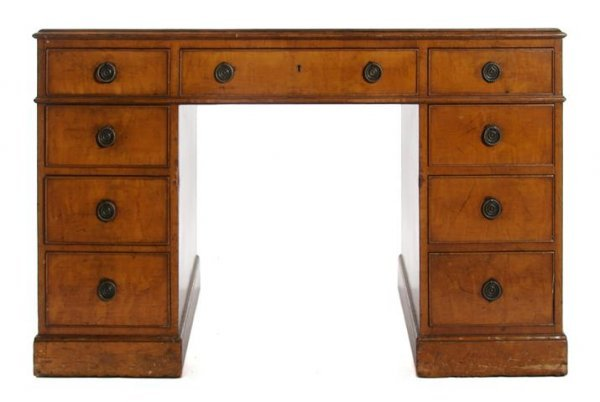 23: An English Chippendale Style Walnut Pedestal Desk,
