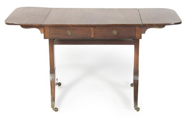24: A George III Walnut Sofa Table, Height 27 3/4 x wid