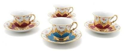 453 An Assembled Set of Meissen Teacups and Saucers D