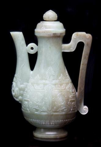 645: An Archaistic Form Jade Ewer, Height 10 inches.