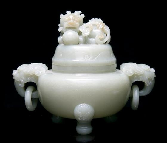 646: A Chinese Jade Censer, Width 8 inches.