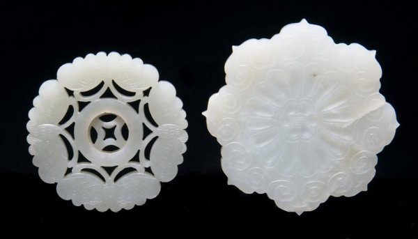 649: A Group of Two Celadon Jade Plaques, Diameter 2 3/