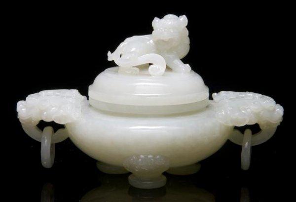 651: A Pale Celadon Jade Censer, Width over handles 5 1