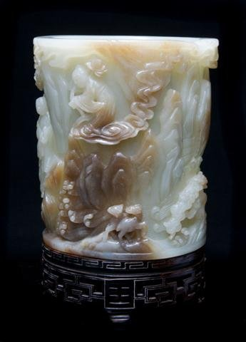 654: A Jade Brush Pot, Height 6 x width 5 1/2 inches.