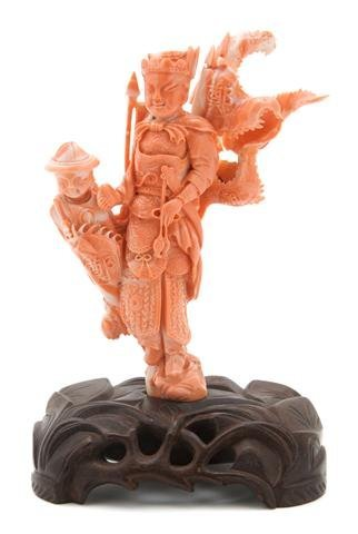 779: A Chinese Coral Figural Carving, Height 5 1/2 inch
