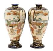 903: A Pair of Japanese Satsuma Vases, Height 4 1/2 inc