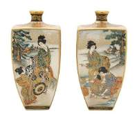 905: A Pair of Japanese Satsuma Vases, Height 4 3/4 inc