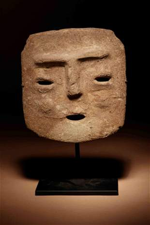 A Chontal Stone Face Panel Height 6 3/4 inches.