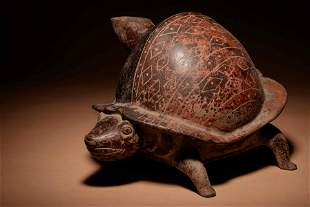 A Colima Terracotta Turtle Vessel Length 13 1/2 inches.