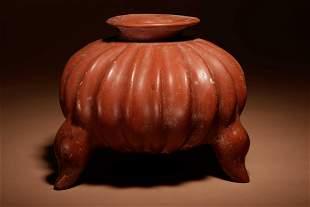 A Colima Terracotta Gadrooned Tripod Vessel Width 9 1/2