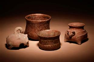 A Group of Four Pre-Columbian Terracotta Vessels Height