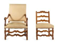 Two Louis XIV French Provincial Olivewood Chairs