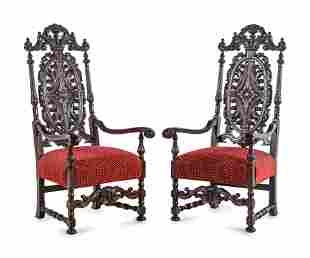 A Pair of Charles II Style Oak Armchairs