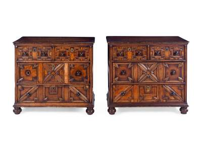 A Pair of Charles II Style Oak Chests of Drawers