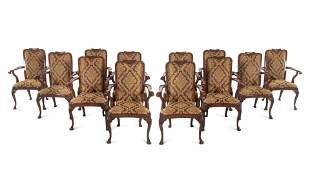 A Set of Twelve Queen Anne Style Mahogany Armchairs
