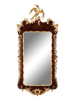 A George II Style Parcel Gilt Mahogany Mirror