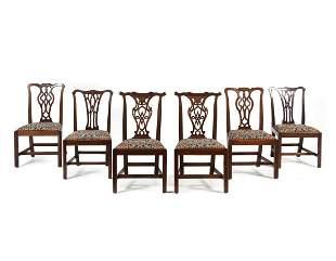 Three Pairs of George III Style Mahogany Dining Chairs