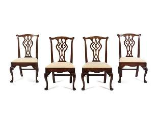 A Set of Four George III Style Mahogany Dining Chairs