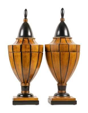 A Pair of Georgian Style Parcel Ebonized Cutlery Urns